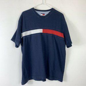 Vtg Tommy Hilfiger Blue SS V-neck Shirt Men Sz L